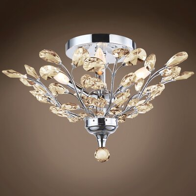 Meghans 4-Light Flush Mount Bulb Type: LED, Crystal Color: Cognac, Crystal Grade: European