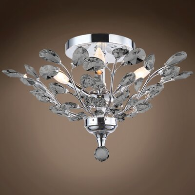 Meghans 4-Light Flush Mount Bulb Type: LED, Crystal Color: Smoke, Crystal Grade: European