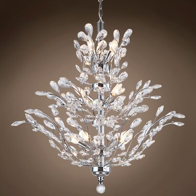 Meehan 18-Light Crystal Chandelier Finish: Clear, Bulb Type: LED, Crystal Grade: Swarovski