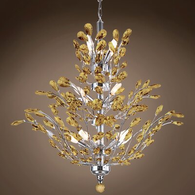 Meehan 18-Light Crystal Chandelier Finish: Amber, Bulb Type: LED, Crystal Grade: European