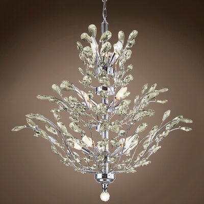 Meehan 18-Light Crystal Chandelier Finish: Golden Teak, Bulb Type: No Bulbs, Crystal Grade: European