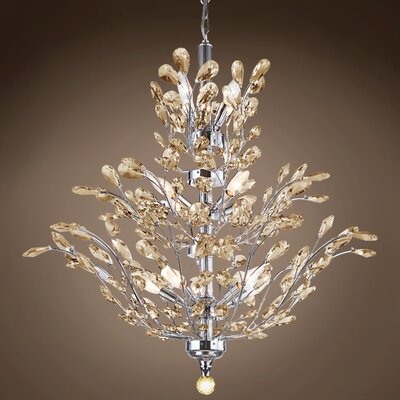 Meehan 18-Light Crystal Chandelier Finish: Cognac, Bulb Type: No Bulbs, Crystal Grade: European