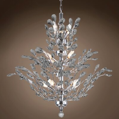 Meehan 18-Light Crystal Chandelier Finish: Smoke, Bulb Type: LED, Crystal Grade: European