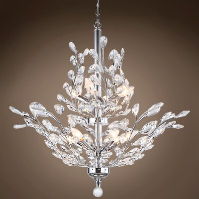 Meekins 10-Light Crystal Chandelier Finish: Clear, Bulb Type: LED, Crystal Grade: Swarovski