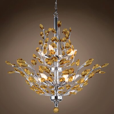 Meekins 10-Light Crystal Chandelier Finish: Amber, Bulb Type: No Bulbs, Crystal Grade: European