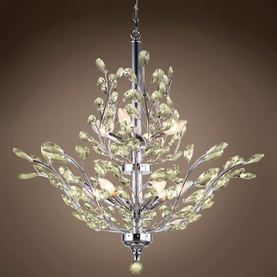 Meekins 10-Light Crystal Chandelier Finish: Golden Teak, Bulb Type: No Bulbs, Crystal Grade: European