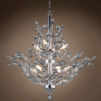Meekins 10-Light Crystal Chandelier Finish: Smoke, Bulb Type: LED, Crystal Grade: European