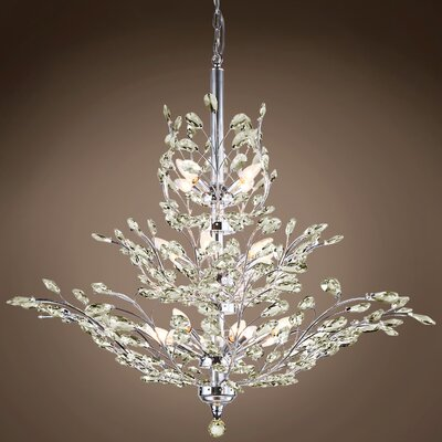 Mefford 13-Light Crystal Chandelier Finish: Golden Teak, Bulb Type: LED, Crystal Grade: European