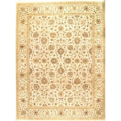 Genuine Tabriz Hand-Knotted Wool Beige Area Rug