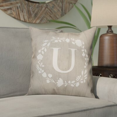 Orme Wreath Monogram Throw Pillow Letter: U