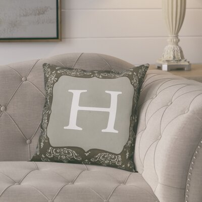Krahn Damask�Monogram Throw Pillow Letter: H