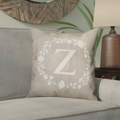 Orme Wreath Monogram Throw Pillow Letter: Z