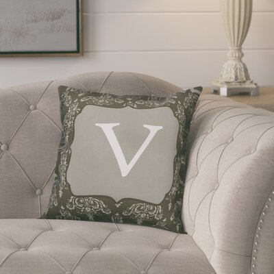 Krahn Damask�Monogram Throw Pillow Letter: V
