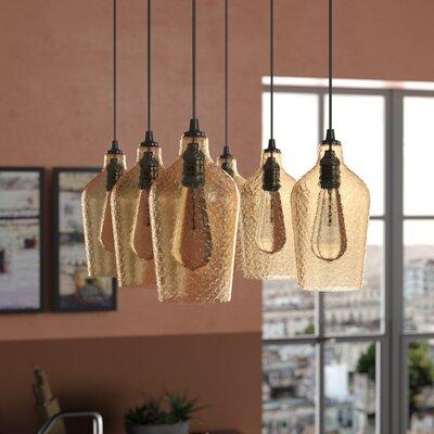Esteban Rectangle 6-Light Cascade Pendant Shade Color: Amber Plated