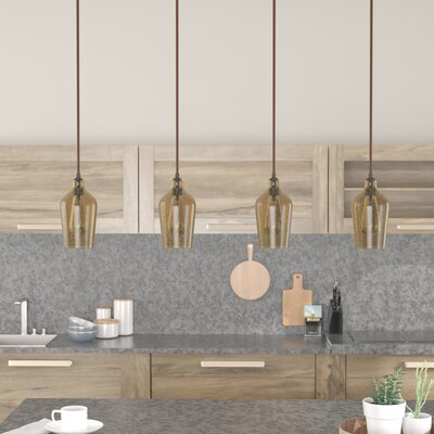 Esteban Linear Pan 4-Light Kitchen Island Pendant Shade Color: Amber Plated