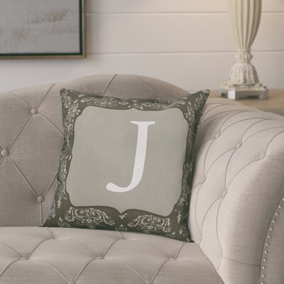 Krahn Damask�Monogram Throw Pillow Letter: J