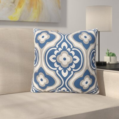 Murrin Cotton Throw Pillow Color: Navy/ White