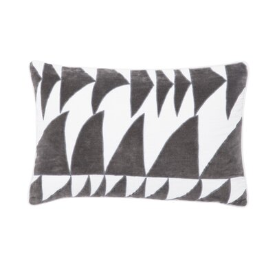 Living Priscilla Geometric Linen Lumbar Pillow Color: White/Dark Gray, Fill: Down / Feather