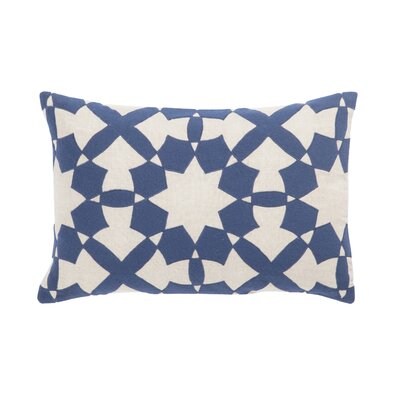 Living Casino Geometric Linen Lumbar Pillow Color: Blue/Ivory, Fill: Polyester / Polyfill
