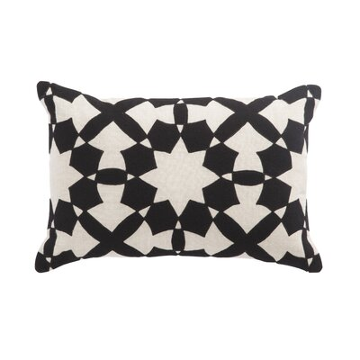Living Casino Geometric Linen Lumbar Pillow Color: Black/Ivory, Fill: Down / Feather