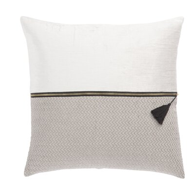 Living Kirat Textured Throw Pillow Color: White/Light Gray, Fill: Polyester / Polyfill