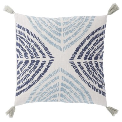 Living Angelika Textured Cotton Throw Pillow Color: Blue/Silver, Fill: Down / Feather