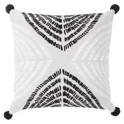 Living Angelika Textured Cotton Throw Pillow Color: Black/Silver, Fill: Polyester / Polyfill