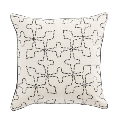 Living Greta Geometric Linen Throw Pillow Color: Cream/Black, Fill: Polyester / Polyfill