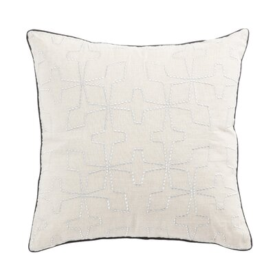 Living Greta Geometric Linen Throw Pillow Color: Cream/Silver, Fill: Polyester / Polyfill