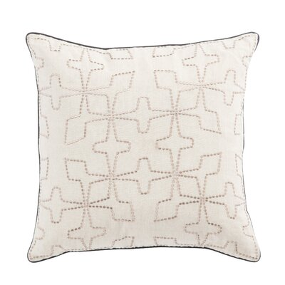 Living Greta Geometric Linen Throw Pillow Color: Cream/Silver, Fill: Down / Feather