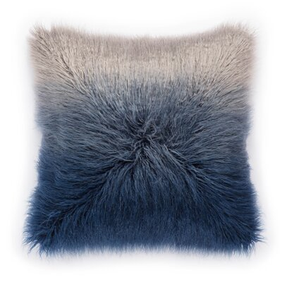Living Mahal Faux Fur Throw Pillow Color: Blue/Silver, Fill: Polyester / Polyfill