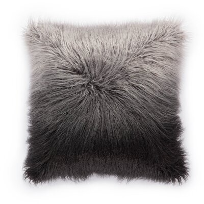 Living Mahal Faux Fur Throw Pillow Color: Black/Silver, Fill: Down / Feather