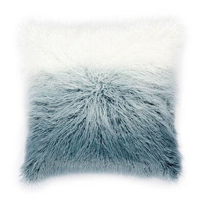 Living Mahal Faux Fur Throw Pillow Color: Light Blue/White, Fill: Down / Feather