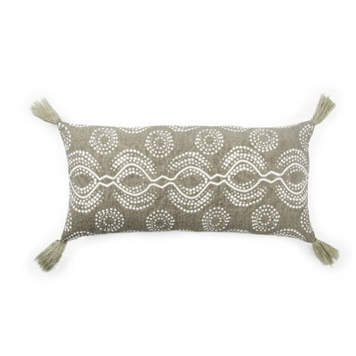Living Satin Linen Lumbar Pillow Color: Taupe/White, Fill: Polyester / Polyfill