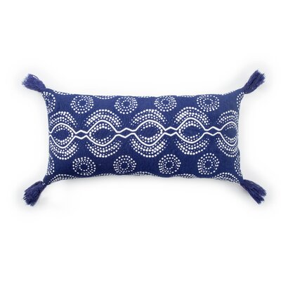 Living Satin Linen Lumbar Pillow Color: Blue/White, Fill: Down / Feather