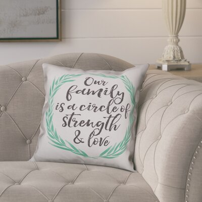 Wargo Our Family Quote Wreath Throw Pillow