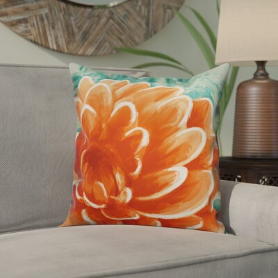 Ortiz Peach Water Lily Throw Pillow Color: Peach