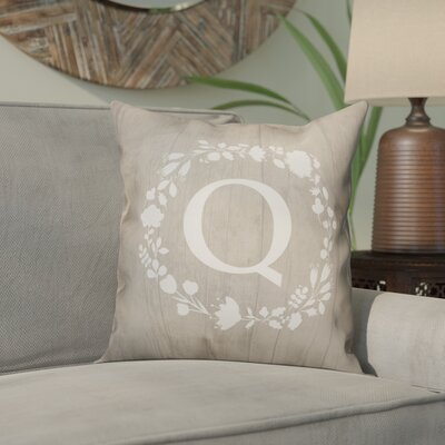 Orme Wreath Monogram Throw Pillow Letter: Q