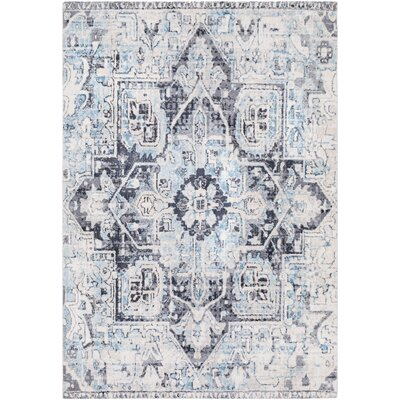 Ramey Vintage Oriental Sky Blue/Ivory Area Rug Rug Size: Rectangle 53 x 76