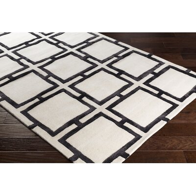 Heidenreich Hand-Tufted Black/Cream Area Rug Rug Size: Rectangle 2 x 3