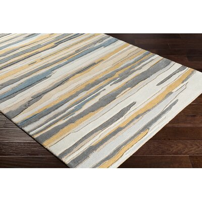Farlow Hand-Tufted Gray/Gold Area Rug Rug Size: Rectangle 5 x 76
