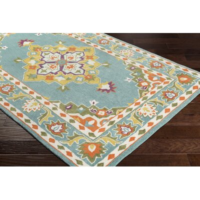 Pettitt Hand-Tufted Blue/Orange Area Rug Rug Size: Rectangle 2 x 3