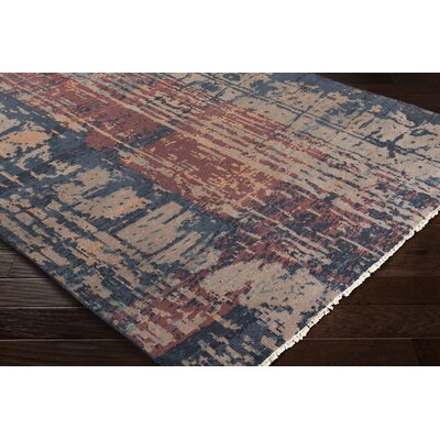 Pelayo Hand-Knotted Wool Navy/Burgundy Area Rug Rug Size: Rectangle 9 x 13