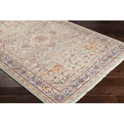 Pettry Hand-Knotted Wool Orange/Sage Area Rug Rug Size: Rectangle 56 x 86