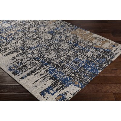 Pelaez Hand-Woven Dark Blue/Taupe Area Rug Rug Size: Rectangle 8 x 10