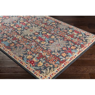 Pewitt Hand-Tufted Wool Peach/Charcoal Area Rug Rug Size: Rectangle 5 x 76