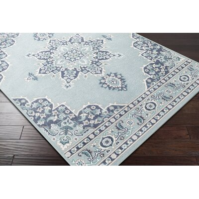 Hsieh Floral Charcoal/Aqua Indoor/Outdoor Area Rug Rug Size: Rectangle 89 x 129