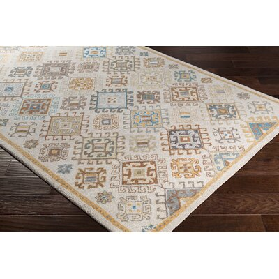 Pewitt Hand-Tufted Wool Teal/Khaki Area Rug Rug Size: Rectangle 2 x 3