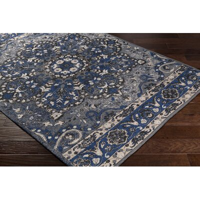Pelaez Hand-Woven Dark Blue/Black Area Rug Rug Size: Rectangle 5 x 76