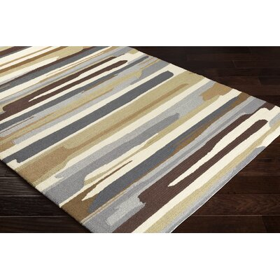 Farkas Hand-Hooked Ivory/Gray Indoor/Outdoor Area Rug Rug Size: Rectangle 9 x 12